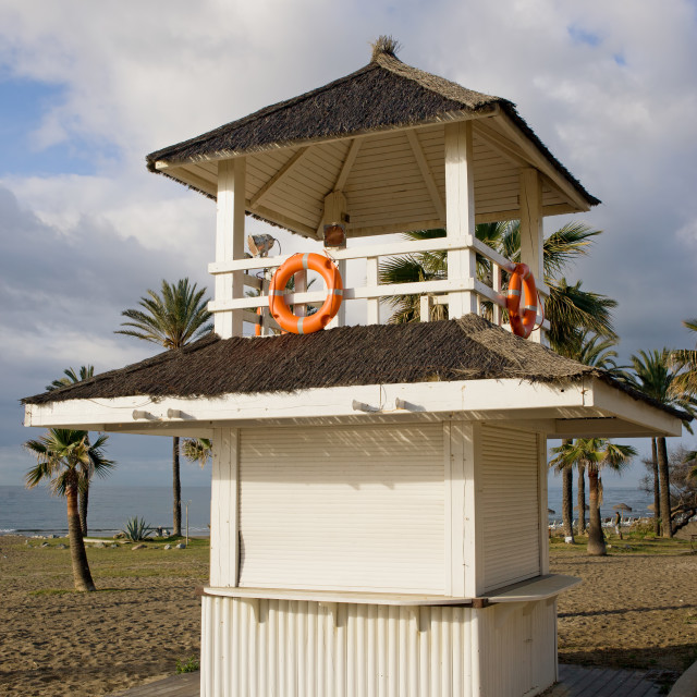 """""""Lifeguard Tower on a Beach in Marbella"""" stock image"""
