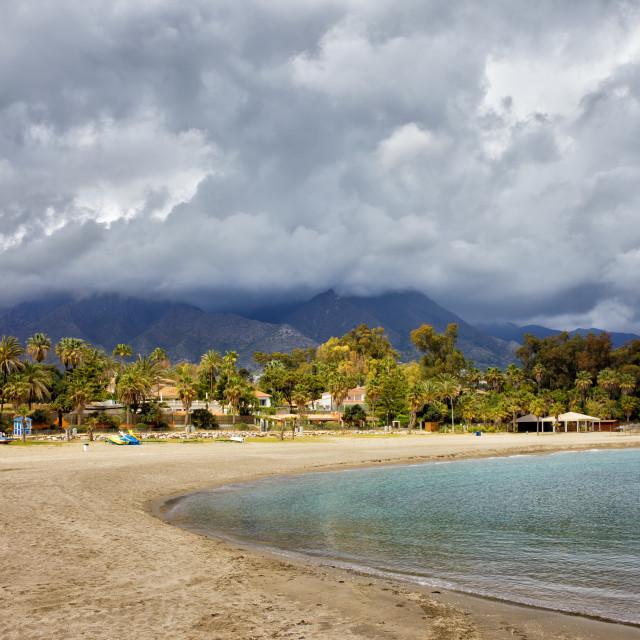"""""""Beach on Costa del Sol"""" stock image"""