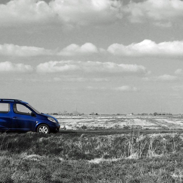 """Blue Car, Flat Fens"" stock image"