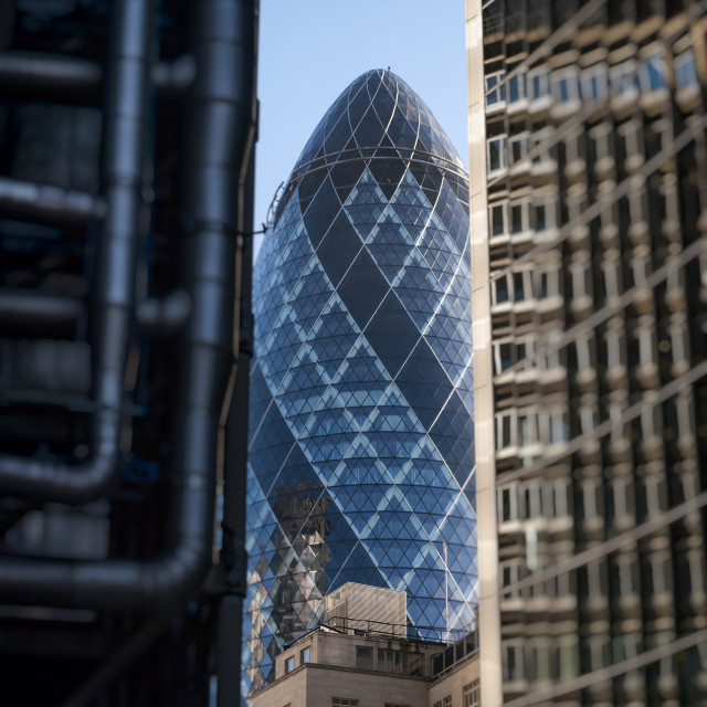 """""""The Lloyds Building, Swiss Re building (The Gherkin) and the Willis Building, Leadenhall Street, London, Britain."""" stock image"""