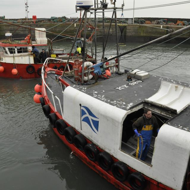"""Fishermen Pittenweem Fife Scotland UK"" stock image"