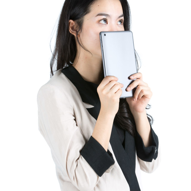 """""""Young businesswoman holding a tablet"""" stock image"""