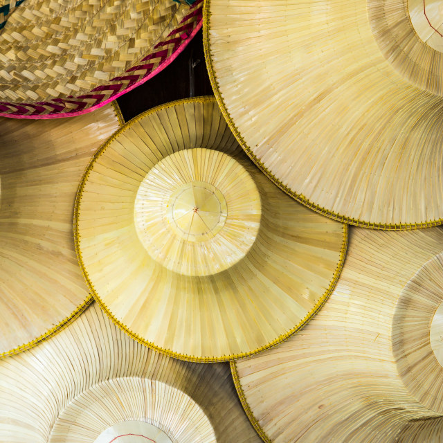 """""""Traditional thai wicker hat that farmers in Thailand user"""" stock image"""