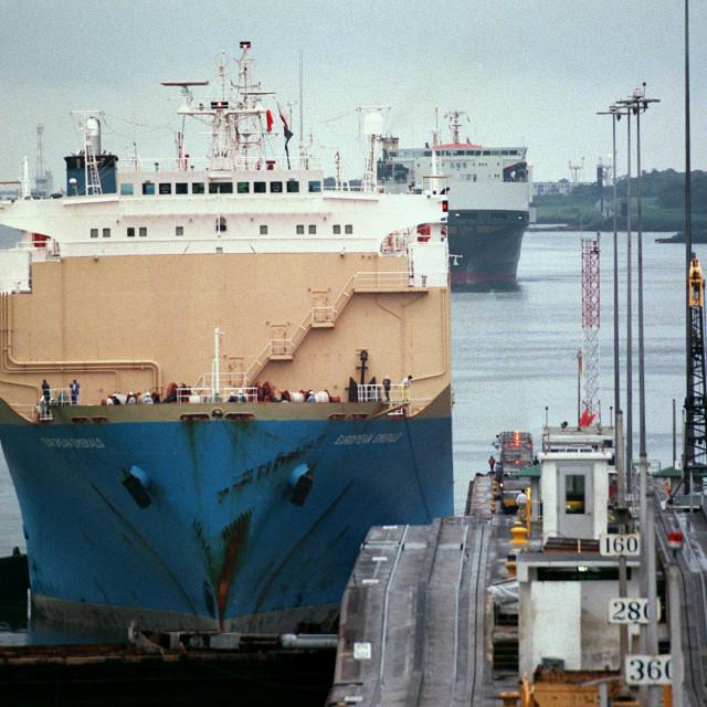 """Ships transit the Panama Canal"" stock image"