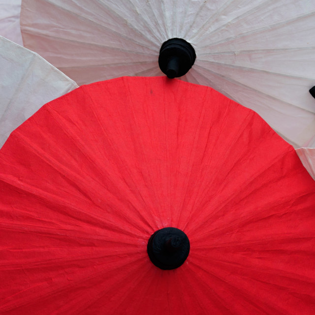 """""""Group of Japanese styled umbrella stacked together"""" stock image"""