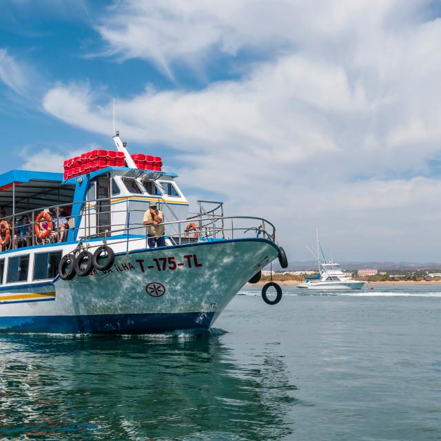 """Boat to Tavira Island"" stock image"