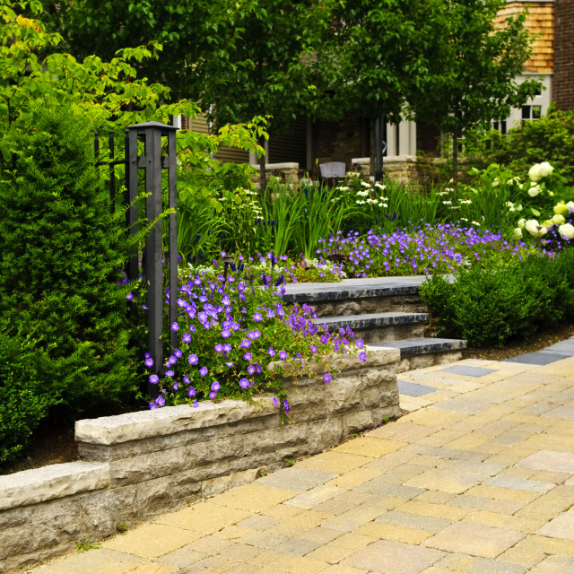 """""""Landscaped garden and stone paved driveway"""" stock image"""