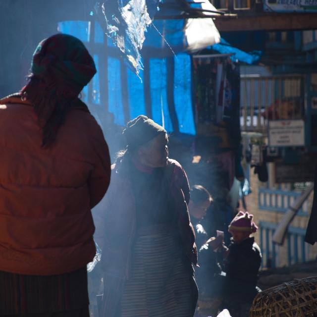 """Sherpas Namche Bazaar Nepal"" stock image"