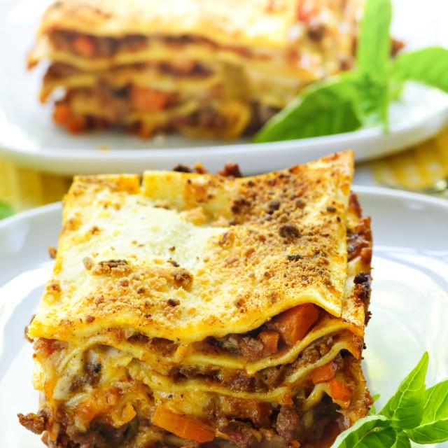"""Plates of lasagna"" stock image"