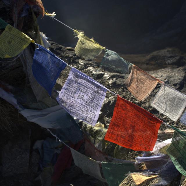 """Tibetan Buddhist Prayer Flags"" stock image"