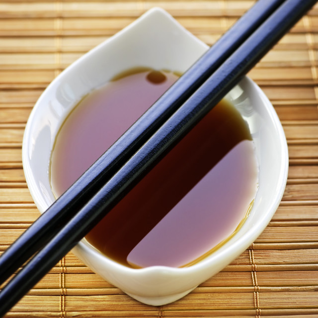 """Soy sauce with chopsticks"" stock image"