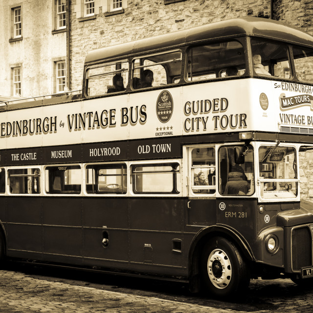 """Edinburgh vintage bus tour"" stock image"
