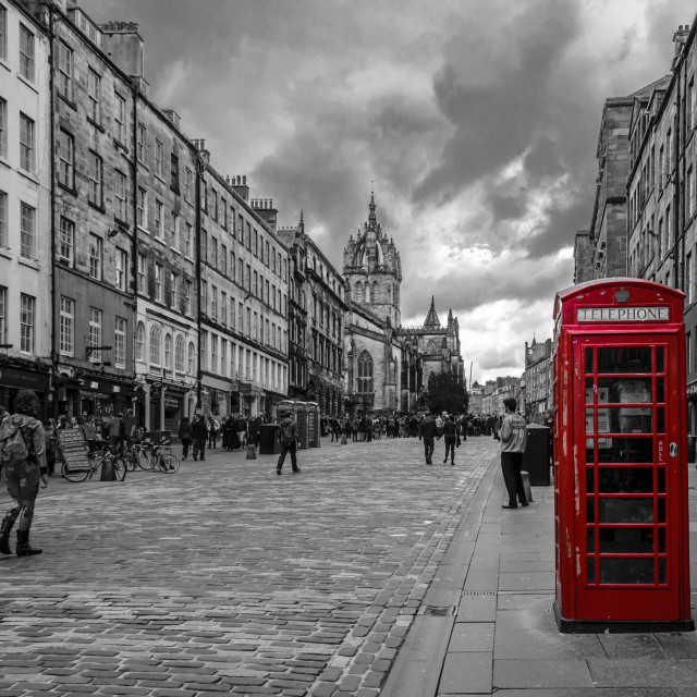 """Telephone box at Royal Mile"" stock image"