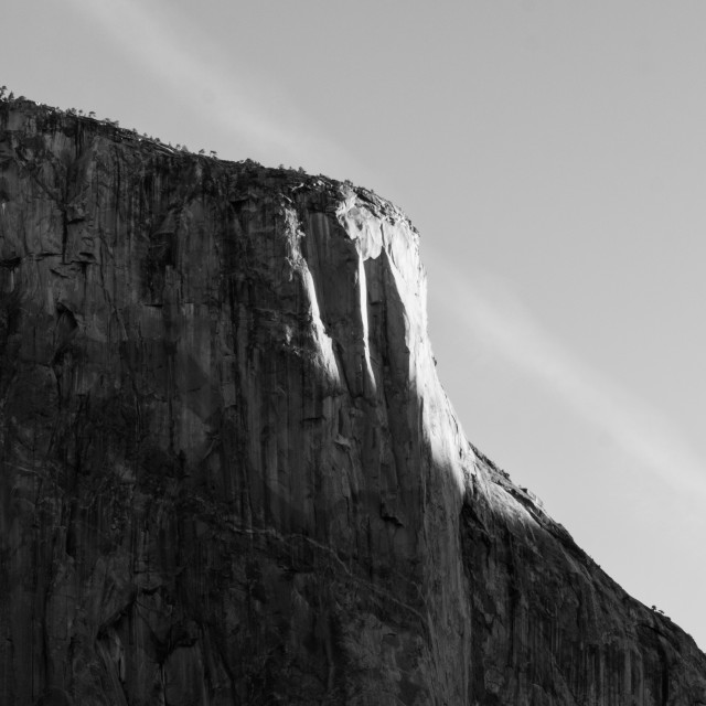 """El Capitan (detail), Yosemite at Sunrise (B&W)"" stock image"
