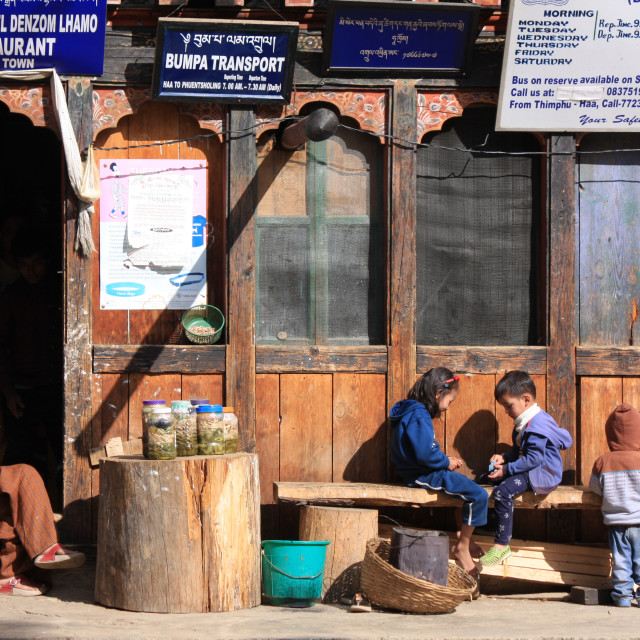 """Shop exterior in Bhutan"" stock image"