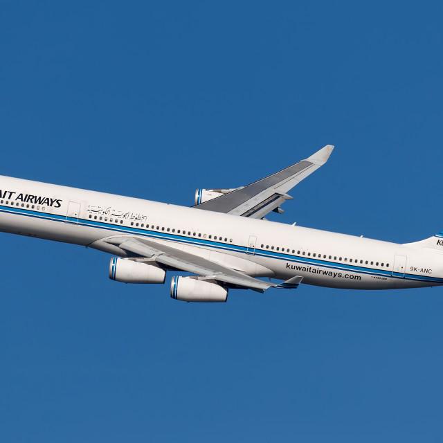 """Kuwait Airways A340 9K-ANC"" stock image"