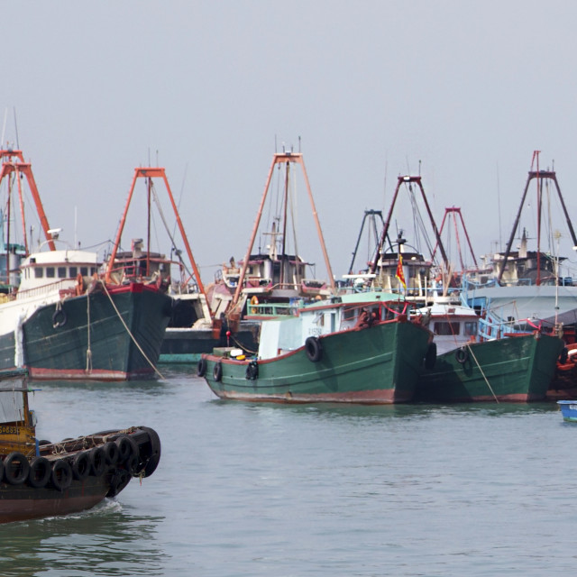 """""""Fishing boats at moorings"""" stock image"""