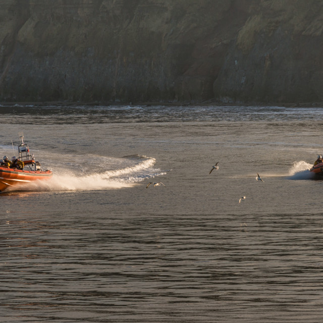 """RNLI Inshore on the move"" stock image"