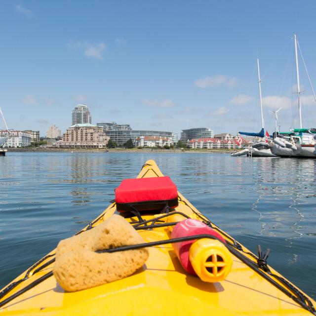 """Kayaking in Victoria harbour"" stock image"