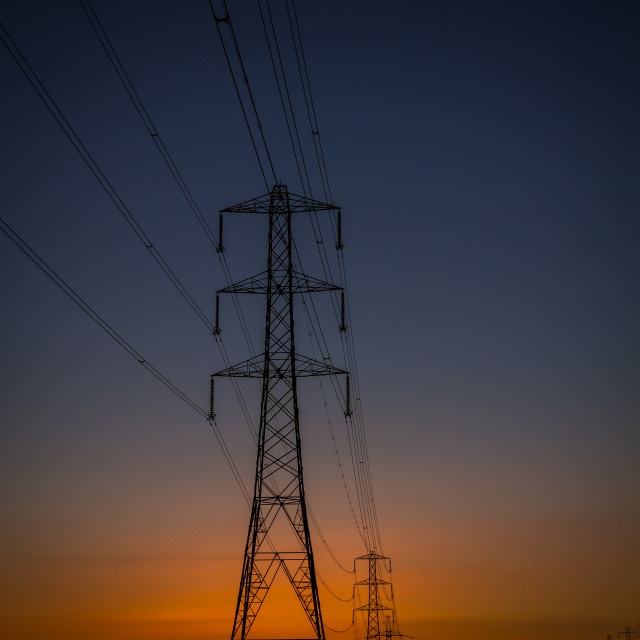 """Pylon sunset"" stock image"
