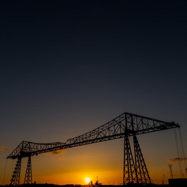 """""""Tees Transporter bridge at sunset"""" stock image"""