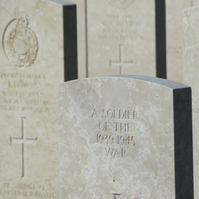 """""""D Day Cemetery , Bayeux, Normandy - unknown soldier"""" stock image"""
