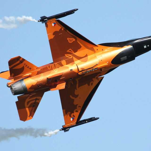 """Orange General Dynamics F16 (Royal Netherlands Air Force)"" stock image"