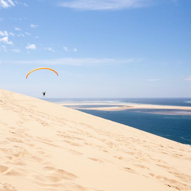 """Dune of Pilat paragliding"" stock image"