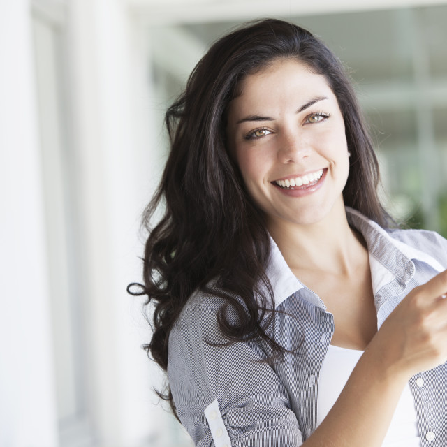 """""""Happy young woman on the phone"""" stock image"""