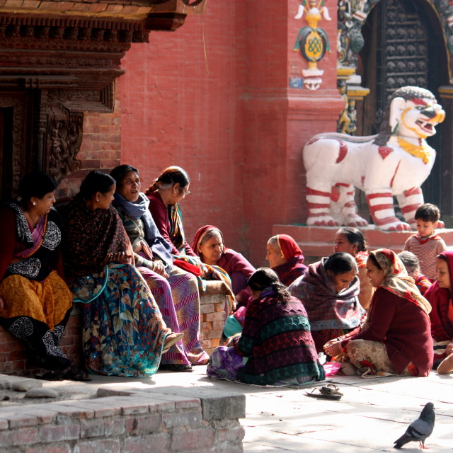 """""""Chit chat at Durbar Square"""" stock image"""