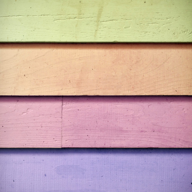"""Wooden slats in the colours of the rainbow"" stock image"