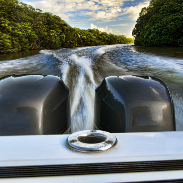 """Throttling up the river"" stock image"