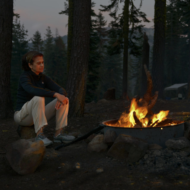 """""""By the campfire"""" stock image"""