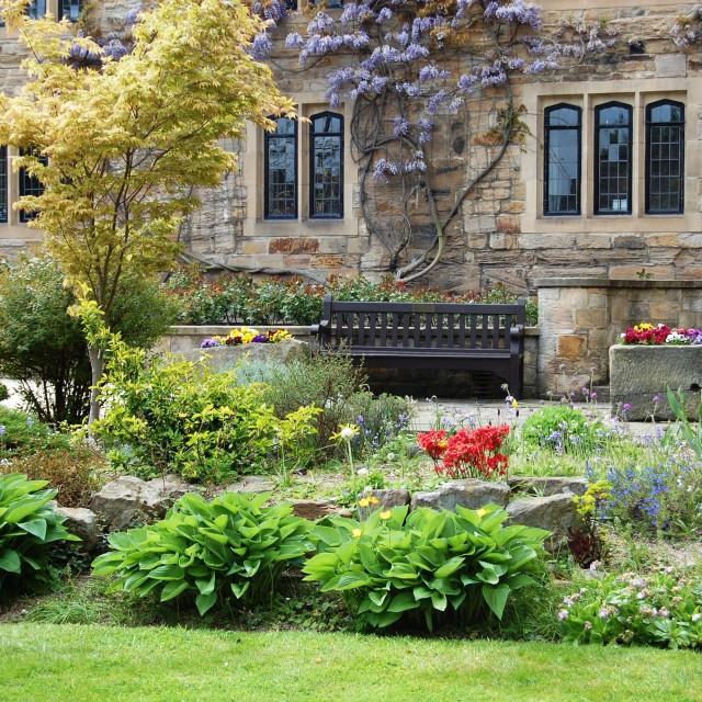 """A British walled garden"" stock image"