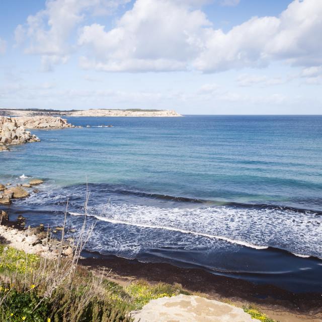 """Picturesque bay - typical Maltese coastline"" stock image"