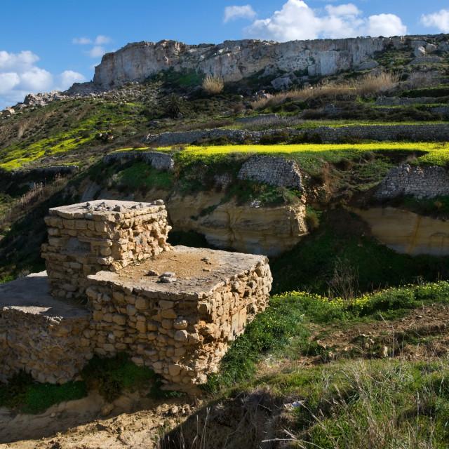 """Rustic Stone hut on edge of hills"" stock image"