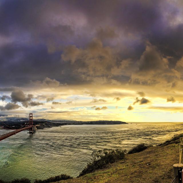 """Golden Gate bridge at sunset"" stock image"