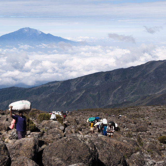 """Trail of Porters on Mt Kilimanjaro"" stock image"