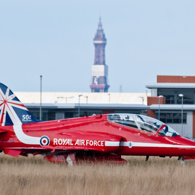 """""""Red Arrows Hawk at Blackpool"""" stock image"""