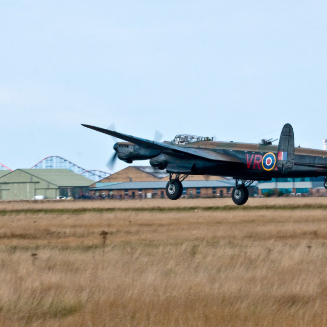 """""""Canadian Lancaster Bomber at Blackpool"""" stock image"""