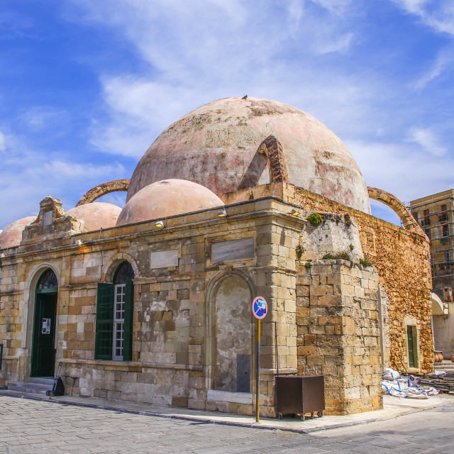 """The Janissaries' Mosque, beside the harbor in Hania, Crete"" stock image"