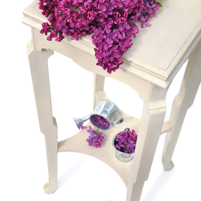 """lilas on little table"" stock image"