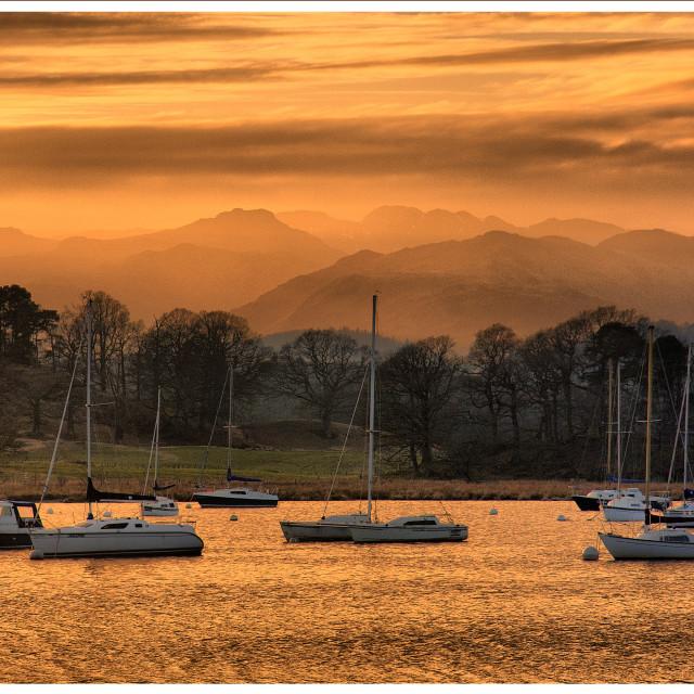 """Windermere golden Sunset"" stock image"