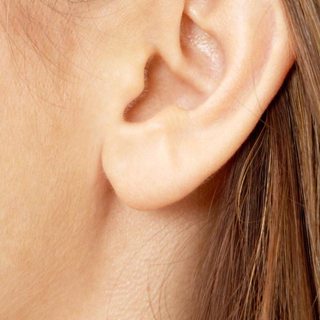 """""""brunette girl ear"""" stock image"""