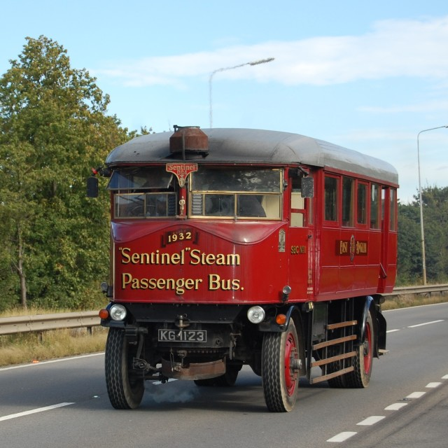 """'Sentinel' Steam 'Bus - rolling along!"" stock image"