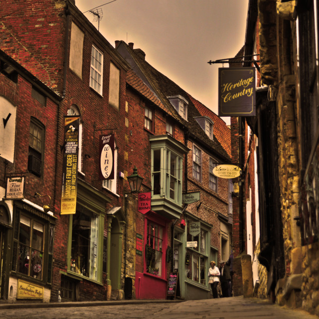"""Steep Hill, Lincoln"" stock image"