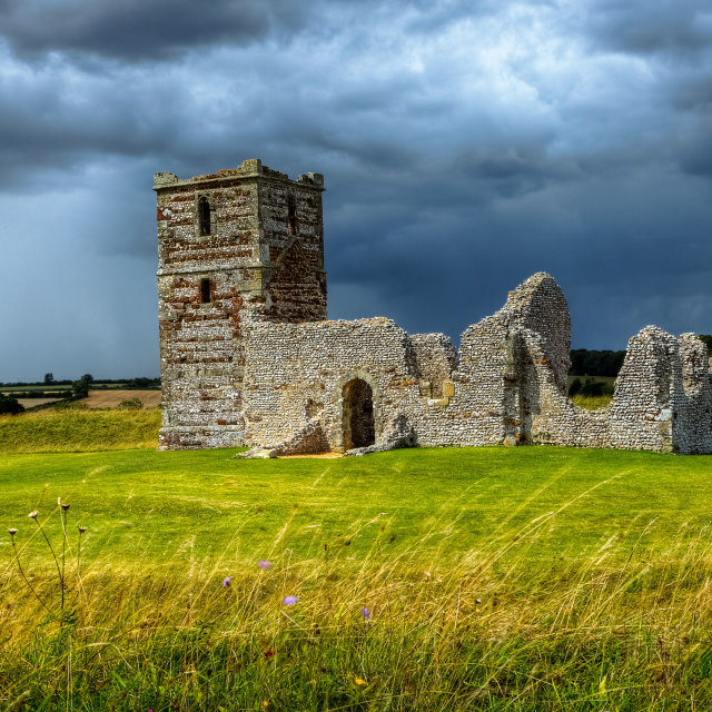 """Knowlton Church Ruin in Dorset"" stock image"