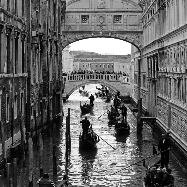 """Venice, the Bridge of Sighs with gondolas"" stock image"