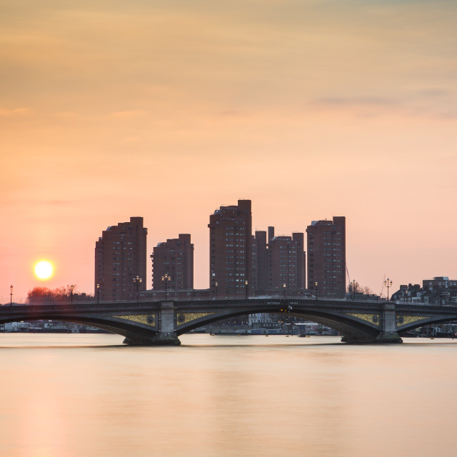 """Battersea Bridge Sunet"" stock image"