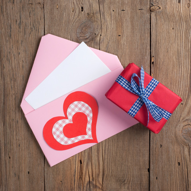 """Love letter with gift"" stock image"